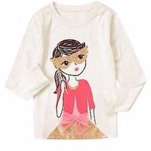 Gymboree white tee with embroidered girl print